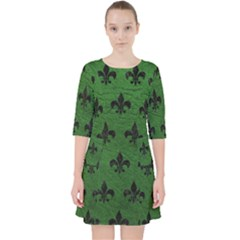 Royal1 Black Marble & Green Leather Pocket Dress by trendistuff