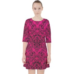 Damask1 Black Marble & Pink Leather Pocket Dress by trendistuff
