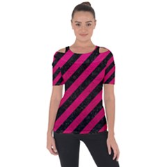 Stripes3 Black Marble & Pink Leather (r) Short Sleeve Top by trendistuff