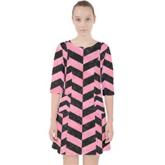 Chevron2 Black Marble & Pink Watercolor Pocket Dress by trendistuff