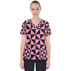 Triangle1 Black Marble & Pink Watercolor Scrub Top by trendistuff
