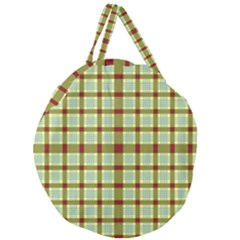 Geometric Tartan Pattern Square Giant Round Zipper Tote by Onesevenart