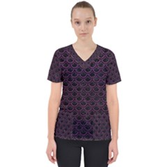 Scales2 Black Marble & Purple Leather (r) Scrub Top by trendistuff