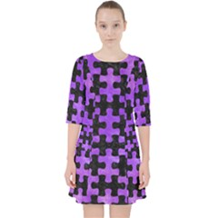 Puzzle1 Black Marble & Purple Watercolor Pocket Dress by trendistuff