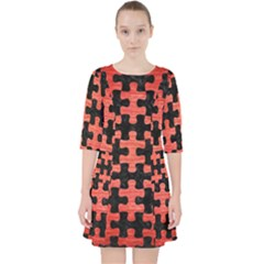 Puzzle1 Black Marble & Red Brushed Metal Pocket Dress by trendistuff