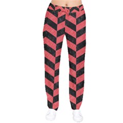 Chevron2 Black Marble & Red Colored Pencil Drawstring Pants by trendistuff