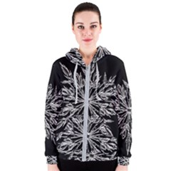 Ice Crystal Ice Form Frost Fabric Women s Zipper Hoodie by Onesevenart