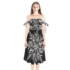 Ice Crystal Ice Form Frost Fabric Shoulder Tie Bardot Midi Dress by Onesevenart