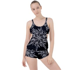 Ice Crystal Ice Form Frost Fabric Boyleg Tankini Set  by Onesevenart