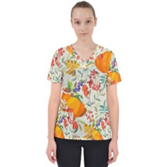 Autumn Flowers Pattern 11 Scrub Top by tarastyle