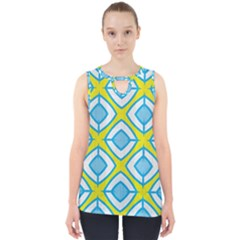 Blue Rhombus Pattern                                Cut Out Tank Top by LalyLauraFLM