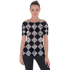 Square2 Black Marble & Silver Foil Short Sleeve Top by trendistuff