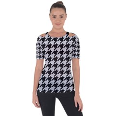Houndstooth1 Black Marble & Silver Glitter Short Sleeve Top by trendistuff