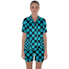 Circles2 Black Marble & Turquoise Colored Pencil (r) Satin Short Sleeve Pyjamas Set by trendistuff