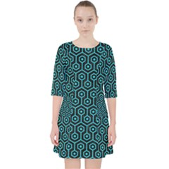 Hexagon1 Black Marble & Turquoise Colored Pencil (r) Pocket Dress by trendistuff