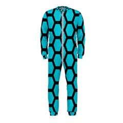 Hexagon2 Black Marble & Turquoise Colored Pencil Onepiece Jumpsuit (kids) by trendistuff