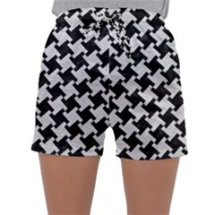 Houndstooth2 Black Marble & White Leather Sleepwear Shorts by trendistuff