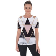 Triangles,gold,black,pink,marbles,collage,modern,trendy,cute,decorative, Short Sleeve Top by 8fugoso