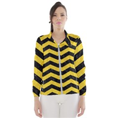 Chevron3 Black Marble & Yellow Colored Pencil Wind Breaker (women) by trendistuff