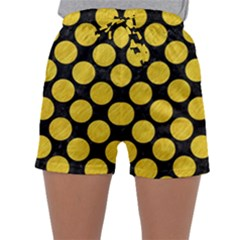 Circles2 Black Marble & Yellow Colored Pencil (r) Sleepwear Shorts by trendistuff
