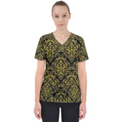 Damask1 Black Marble & Yellow Leather (r) Scrub Top by trendistuff