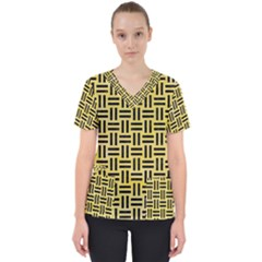 Woven1 Black Marble & Yellow Watercolor Scrub Top by trendistuff