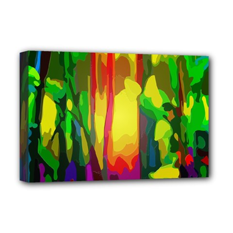 Abstract Vibrant Colour Botany Deluxe Canvas 18  X 12   by Celenk