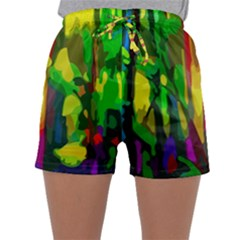 Abstract Vibrant Colour Botany Sleepwear Shorts by Celenk
