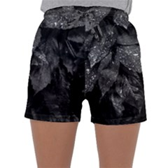 Black And White Leaves Photo Sleepwear Shorts by dflcprintsclothing