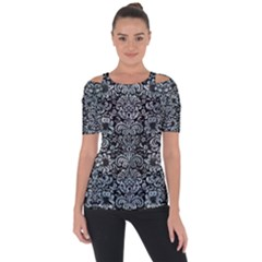Damask2 Black Marble & Ice Crystals (r) Short Sleeve Top by trendistuff
