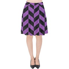 Chevron1 Black Marble & Purple Denim Velvet High Waist Skirt by trendistuff