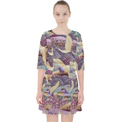 Textile Fabric Cloth Pattern Pocket Dress by Celenk