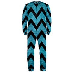 Chevron9 Black Marble & Teal Brushed Metal Onepiece Jumpsuit (men)  by trendistuff