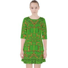 Golden Green And  Sunshine Pop Art Pocket Dress by pepitasart