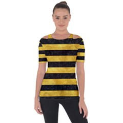 Stripes2 Black Marble & Gold Paint Short Sleeve Top by trendistuff