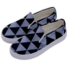 Triangle3 Black Marble & Silver Paint Kids  Canvas Slip Ons by trendistuff