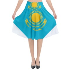 Heart Love Flag Sun Sky Blue Flared Midi Skirt