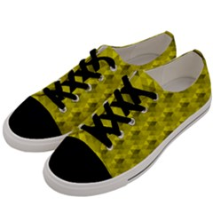 Hexagon Cube Bee Cell  Lemon Pattern Men s Low Top Canvas Sneakers by Cveti
