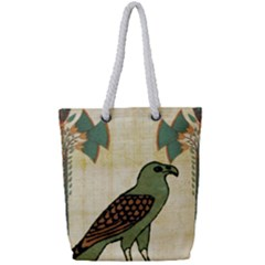 Egyptian Paper Papyrus Bird Full Print Rope Handle Bag (small) by Celenk