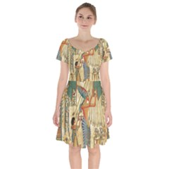 Egyptian Man Sun God Ra Amun Short Sleeve Bardot Dress by Celenk