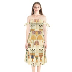Egyptian Paper Papyrus Hieroglyphs Shoulder Tie Bardot Midi Dress by Celenk