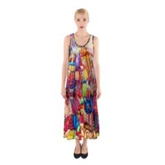 Guatemala Art Painting Naive Sleeveless Maxi Dress
