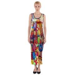Guatemala Art Painting Naive Fitted Maxi Dress