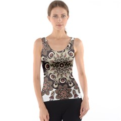 Mandala Pattern Round Brown Floral Tank Top