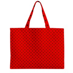 Small Christmas Green Polka Dots On Red Zipper Mini Tote Bag by PodArtist