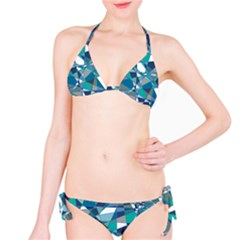Abstract Background Blue Teal Bikini Set