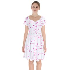 Arrows Girly Pink Cute Decorative Short Sleeve Bardot Dress by Celenk