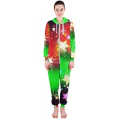 Star Abstract Pattern Background Hooded Jumpsuit (ladies)