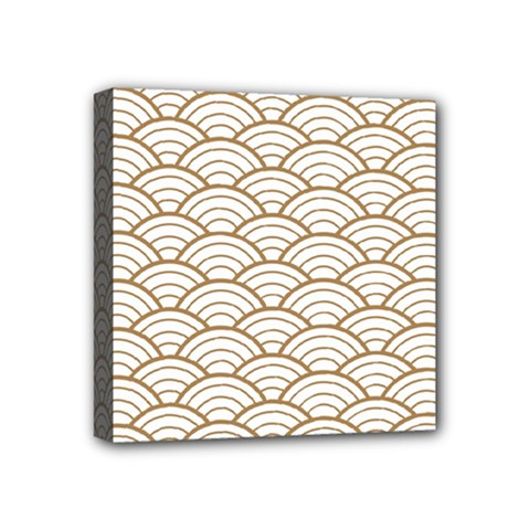 Art Deco,japanese Fan Pattern, Gold,white,vintage,chic,elegant,beautiful,shell Pattern, Modern,trendy Mini Canvas 4  X 4  by 8fugoso