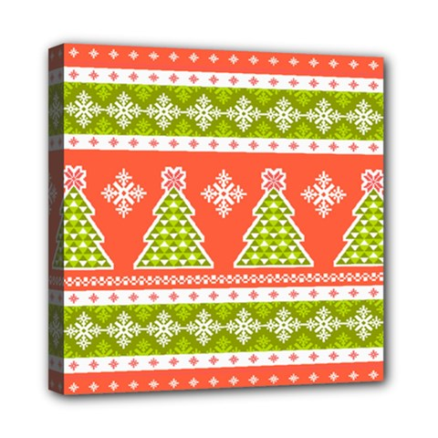 Christmas Tree Ugly Sweater Pattern Mini Canvas 8  X 8  by AllThingsEveryone